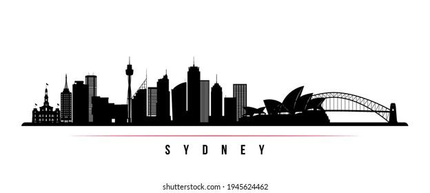 Sydney skyline horizontal banner. Black and white silhouette of Sydney, Australia. Vector template for your design.