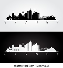 Sydney skyline and landmarks silhouette, black and white design, vector illustration.