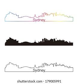 Sydney skyline linear style with rainbow in editable vector file