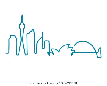 Sydney skyline silhouette drawn as one continuous line. Simple and minimal vector drawing.