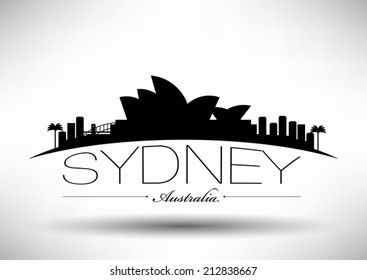 Sydney Skyline with Typography Design