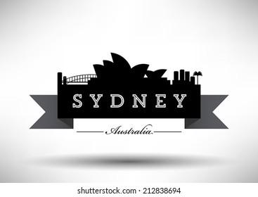 Sydney Skyline with Typography Design