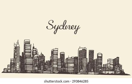Sydney skyline, vintage engraved illustration, hand drawn, sketch