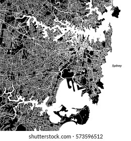 Sydney Vector Map, Artprint. Black Landmass, White Water and Roads.