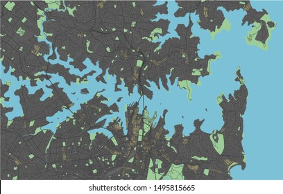 Sydney vector map with dark colors.