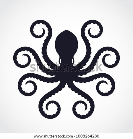 Sylized Shape Silhouette Octopus Logo