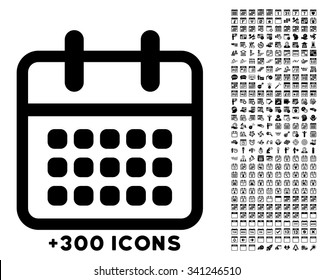 Syllabus Month vector icon with additional 300 date and time management pictograms. Style is flat symbols, black color, rounded angles, white background.
