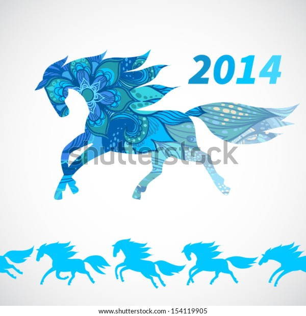 Symbol of 2014. Horse, decorated with blue flower patterns.Vector element for design. Seamless border of running horses.It can be used for decoration of web page, invitations, cards, bags and clothes.