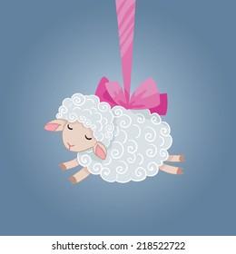 Symbol of 2015. Sheep vector illustration