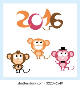 Symbol of 2016. Cute smiling Monkey . Vector decor for New Year's design in flat style.