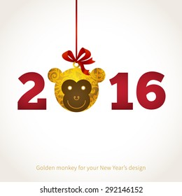 Symbol of 2016. Monkey head, decorated gold floral patterns. Vector element for New Year's design. Illustration of 2016 year of the monkey.