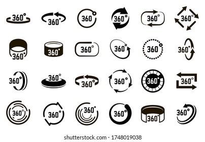 Symbol 360 degrees. Angle 360 degree circle signs, panorama arrows circular elements, circle 360 degrees vector illustration icons set. Rotation 360 rotate, 3d view angle, degree panorama