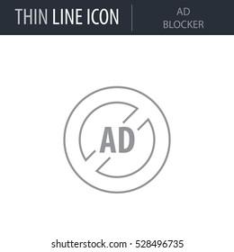 Symbol of Ad Blocker Thin line Icon of Digital Marketing. Stroke Pictogram Graphic for Web Design. Quality Outline Vector Symbol Concept. Premium Mono Linear Beautiful Plain Laconic Logo