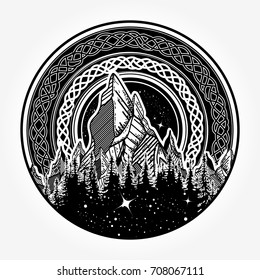 Symbol of adventure tourism, meditation. Nature Mountain tattoo and t-shirt design. Great outdoors