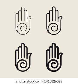 Symbol of Ahimsa. Religious sign. Jainism. Vector Format