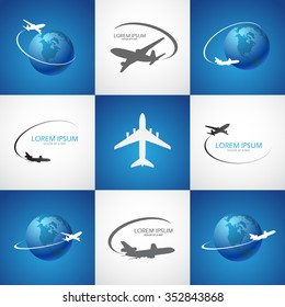 symbol airplane logo travel tourism design vector