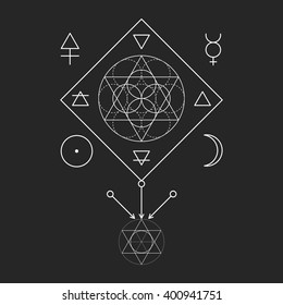Symbol of alchemy and sacred geometry. Linear character illustration for lines tattoo on the black isolated background. Three primes: spirit, soul, body and 4 basic elements: Earth, Water, Air, Fire