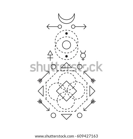 Symbol Alchemy Sacred Geometry Linear Character Stock Vector
