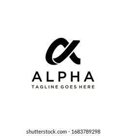 A symbol of the alpha in the form of mutual cut logo design