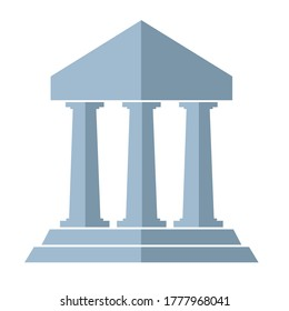 symbol ancient rome building flat vector design. three pillars symbol