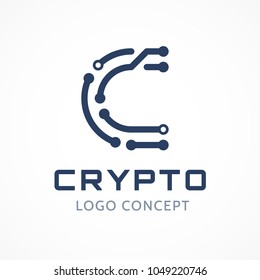 Symbol of any cryptocurrency. Letter C in form of chip lines. Template for logo