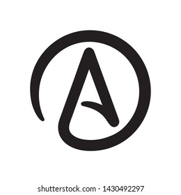 Symbol of Atheism: letter A in circle. Simple black and white atheist sign icon. Isolated vector clip art illustration.