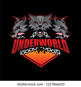 Symbol or Badge Logo Design with Underworld Creature Mythology Theme