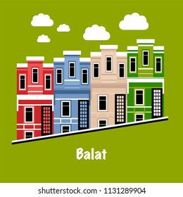 Symbol of the Balat district in Istanbul, Turkey. Balat is popular, trendy and hipsters place with many bars and restaurants. Popular Istanbul landmark icons. Vector illustration in flat style.