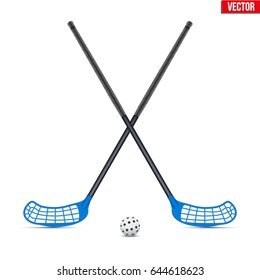 Symbol of ball with sticks for floorball and floor hockey. Sport Equipment. Editable Vector illustration Isolated on white background.