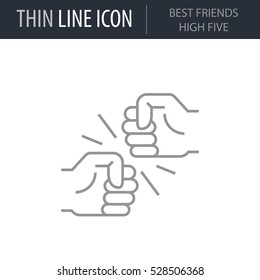 Symbol of Best Friends High Five Thin line Icon of Conscious Living and Friends Relations. Stroke Pictogram Graphic for Web Design. Quality Outline Vector Symbol Concept. Premium Mono Linear