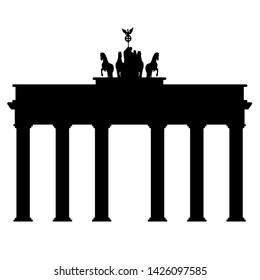 Symbol of Brandenburg gate in Berlin on a white background