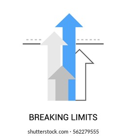 Symbol of Breaking Limits or Template gap. Upwards Arrows. Premium quality icon.