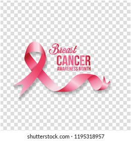 Symbol Breast cancer awareness month in october. Realistic pink ribbon  transparent background. Vector illustration.