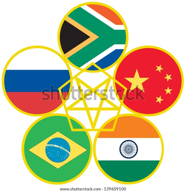 Symbol for BRICS, the association of emerging national economies, Brazil, Russia, India, China, South Africa