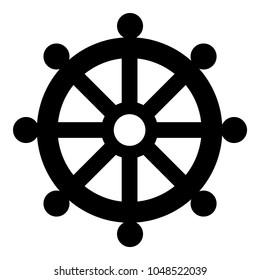 Symbol budhism wheel law religious sign icon black color