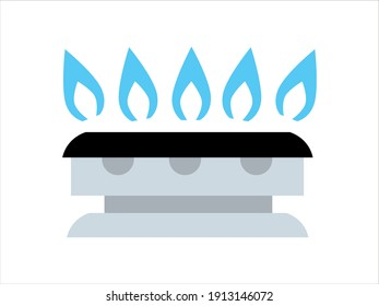The symbol of the burning Gas. A burner for a gas stove.  The hob is in the kitchen. Vector  illustration