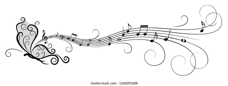 Symbol of butterfly with music notes.