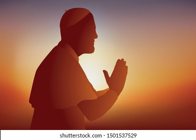 Symbol of the Catholic religion with an ecclesiastic who prays and communicates in front of his faithful, holding his hands together.