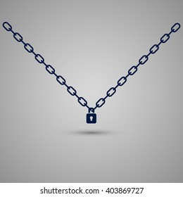 Symbol of chain and padlock on the gray background. Vector elements.