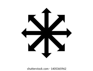 Symbol of Chaos vector isolated on white background. A symbol originating from The Eternal Champion, later adopted by occultists and role-playing games. Aleister Crowley and chaos magic