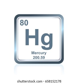 Symbol of chemical element mercury as seen on the Periodic Table of the Elements, including atomic number and atomic weight.