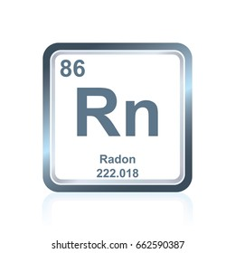 Symbol of chemical element radon as seen on the Periodic Table of the Elements, including atomic number and atomic weight.