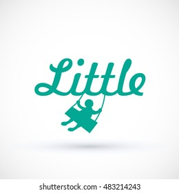 Symbol child swinging on a swing Vector baby logo