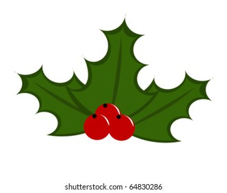 Symbol of Christmas - holly berry illustration