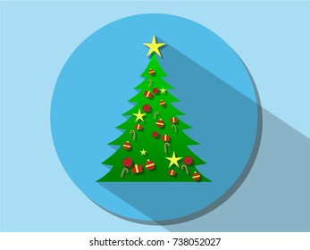 Symbol of christmas (X-mas) tree with many decoration on the pine tree with long shadow on blue circle for the holiday or icon