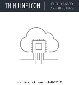 Symbol of Cloud Based Architecture Thin line Icon of Data Science. Stroke Pictogram Graphic for Web Design. Quality Outline Vector Symbol Concept. Premium Mono Linear Beautiful Plain Laconic Logo