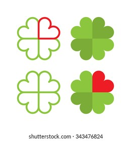 Symbol of a cloverleaf in flat and line style made from hearts.