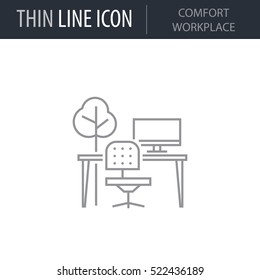 Symbol of Comfort Workplace. Thin line Icon of Productivity And Concentration. Stroke Pictogram Graphic for Web Design. Quality Outline Vector Symbol Concept. Premium Mono Linear Beautiful Plain
