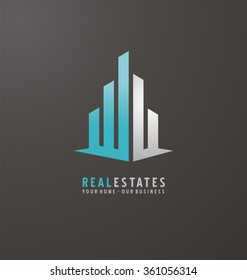 Symbol concept for accounting or real estate company. Vector design with commercial building and chart bars. Business logo concept.