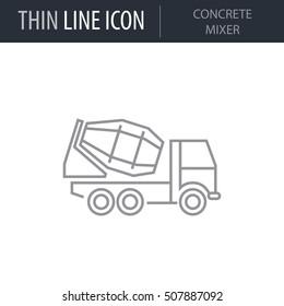 Symbol of Concrete Mixer Thin line Icon of Construction. Stroke Pictogram Graphic for Web Design. Quality Outline Vector Symbol Concept. Premium Mono Linear Beautiful Plain Laconic Logo